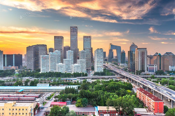 Beijing, China modern financial district skyline