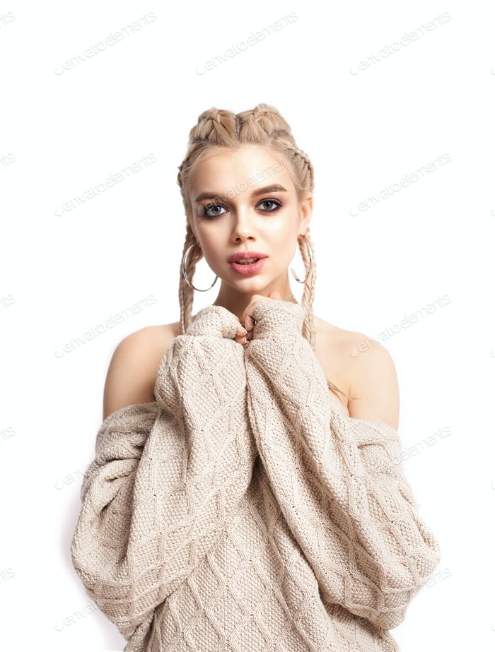 Girl in knitted sweater