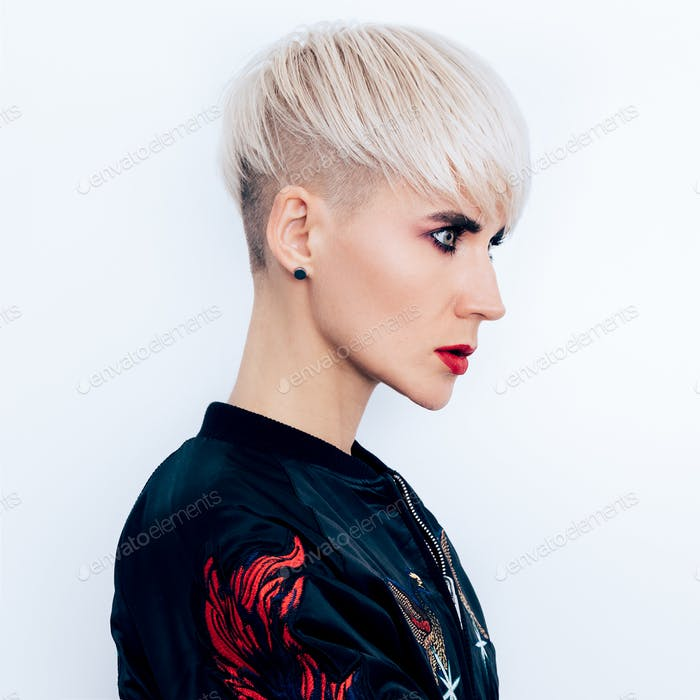 Tomboy fashion Model with short haircut  Hair Ideas Trends