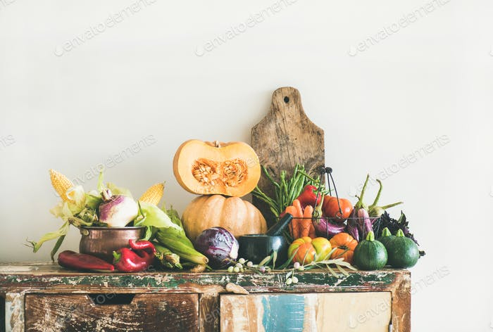 Fall seasonal vegetarian food ingredients variety, copy space