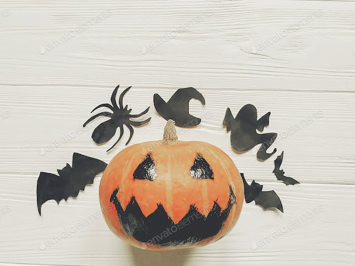 jack lantern pumpkin with witch ghost bats and spider black decorations