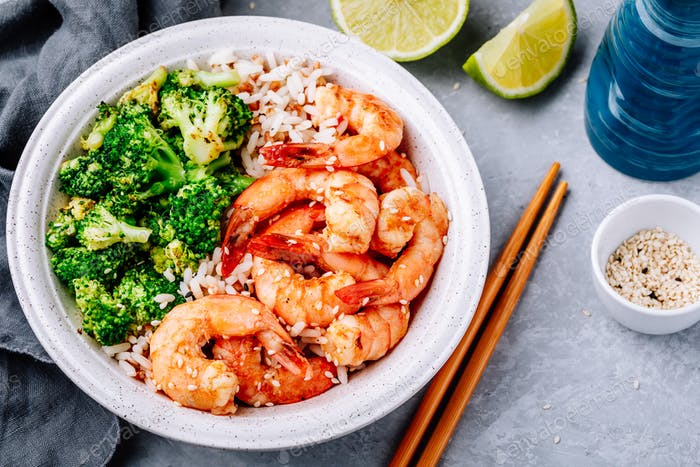 Spicy Shrimp Burrito Bowl with cilantro lime rice and broccoli
