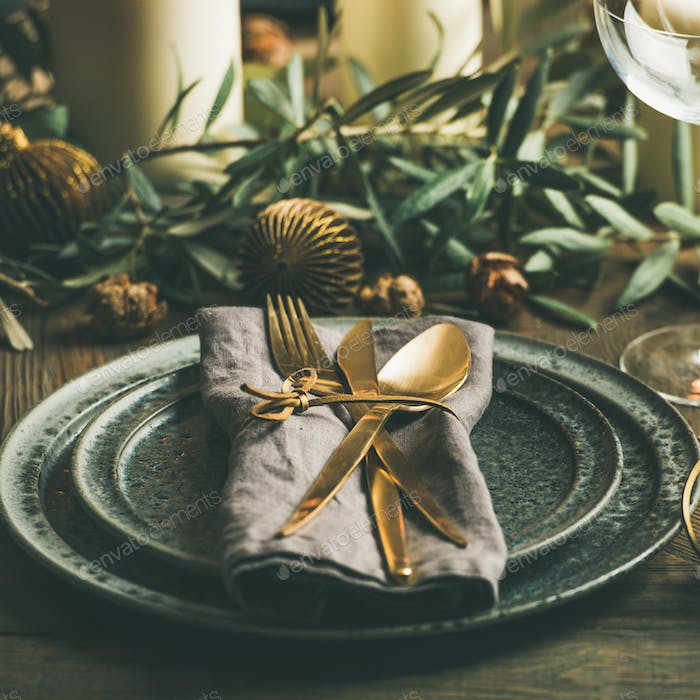 Christmas or New Years celebration table setting, square crop