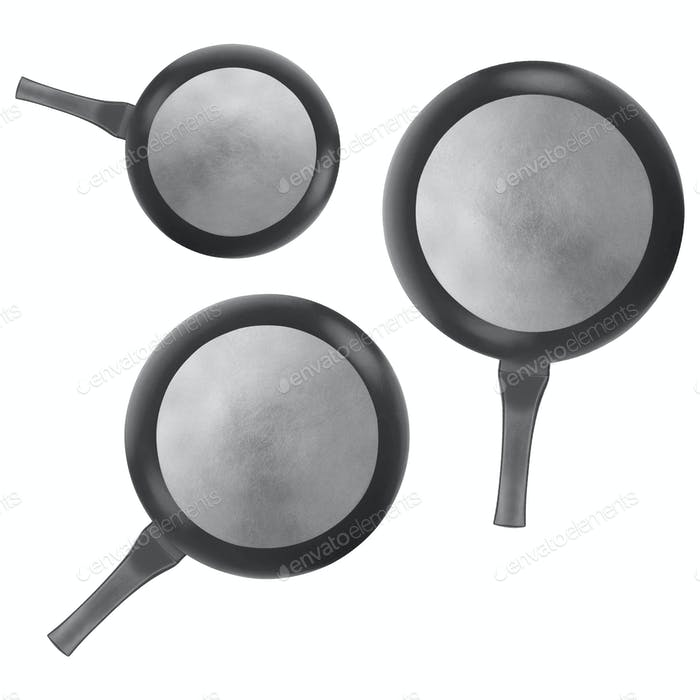 empty frying pans isolated on white background