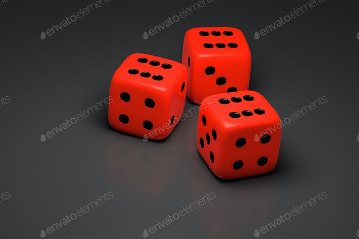 three red dice on a gray background