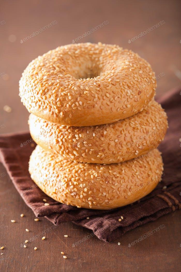 fresh sesame bagel for breakfast