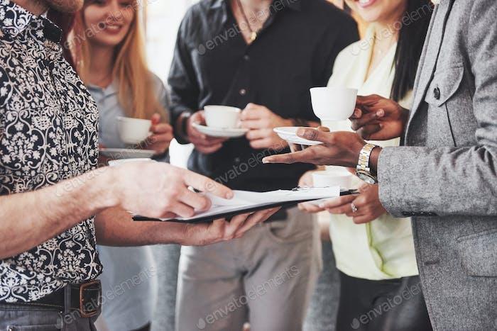 Coffee Break Business Cafe Celebration Event Party. Teamwork Brainstorming Concept