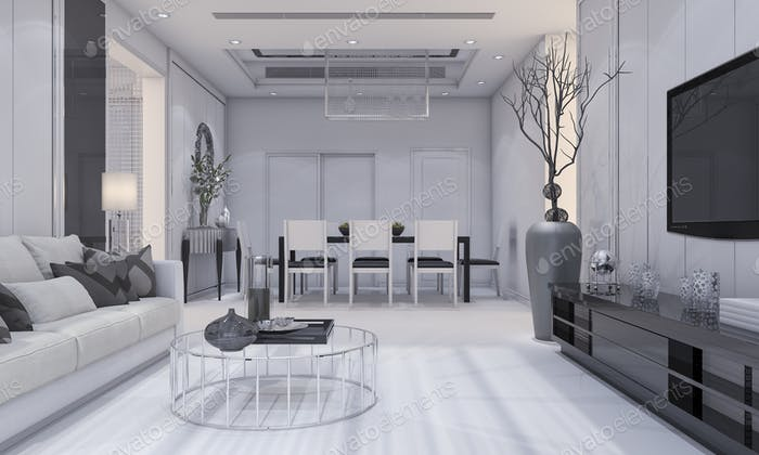 luxury living room and dining room with grey sofa and tv shelf and dining table