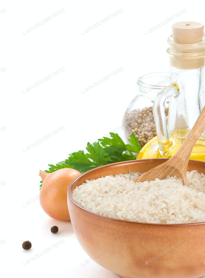 rice and healthy food isolated on white