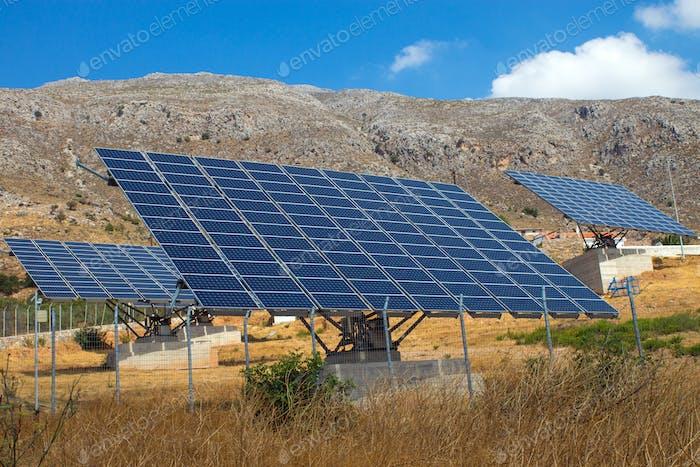 Solar panels on Crete island