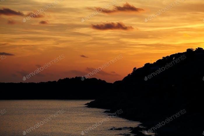 Silhouettes At Sunset Marciana Marina Elba Island