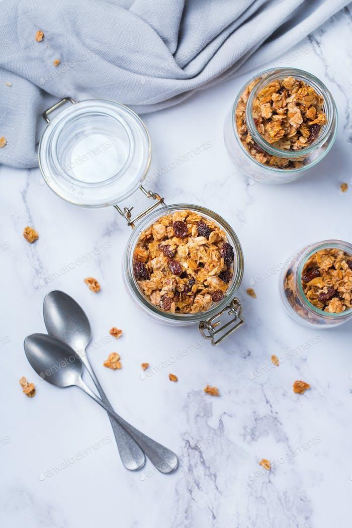 Homemade granola muesli on a kitchen table