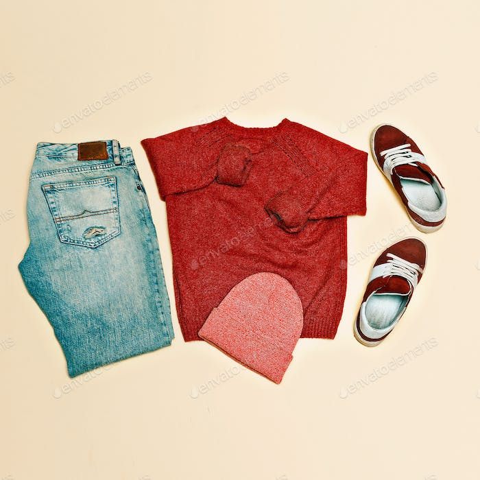 Urban clothing set. Sweater jeans shoes cap
