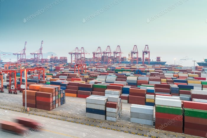 busy container port in shanghai