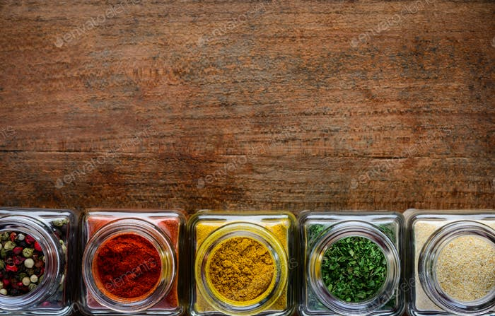 Spices in Jars with Copy Space