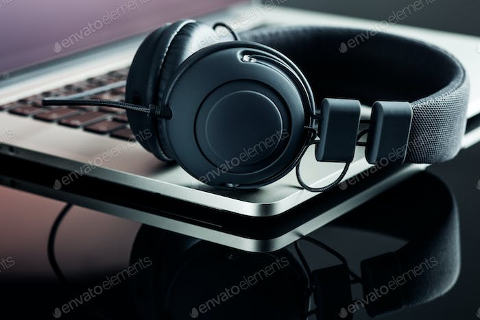 headphones and laptop