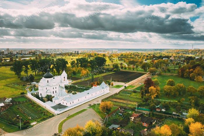 Mahiliou, Belarus. Mogilev Cityscape With Famous Landmark St. Nicholas Monastery. Aerial View Of