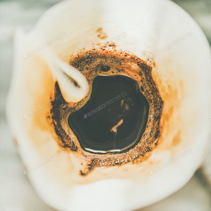 Top view of coffee brewed in Chemex, close-up