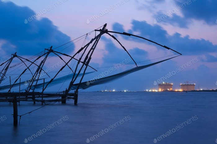 Chinese fishnets in twilight. Kochi, Kerala, India