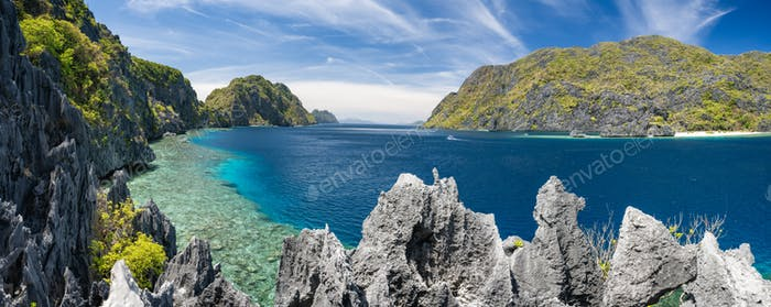 El Nido, Palawan, Philippines. Panorama of tapiutan strait with tourist boats on tour C. View from