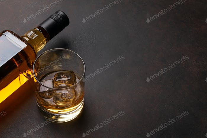 Scotch whiskey bottle and glass