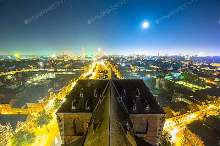 View over Groningen city by night