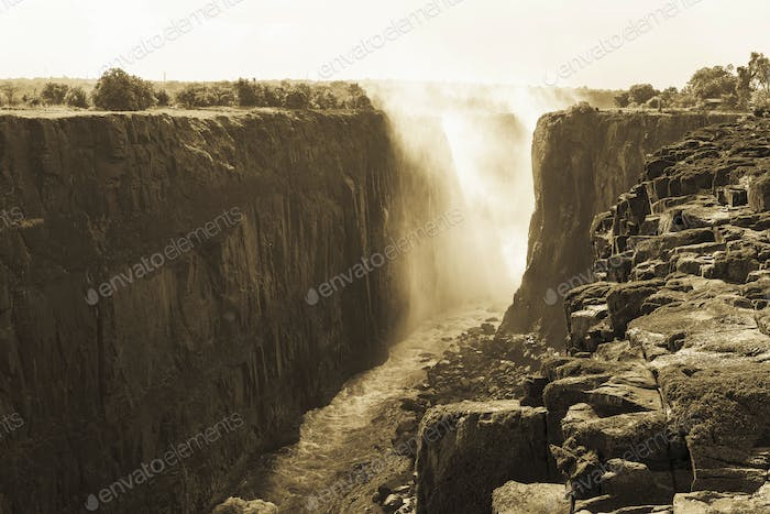 Victoria Falls from the Zambian side.