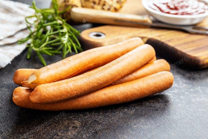 Fresh frankfurter sausages.