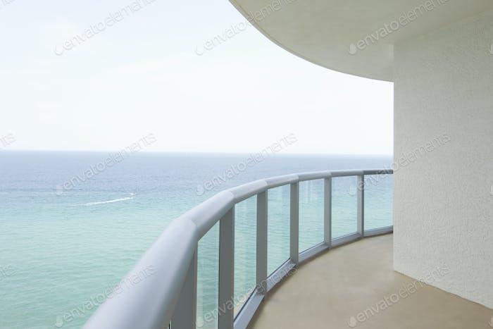 Empty balcony overlooking ocean