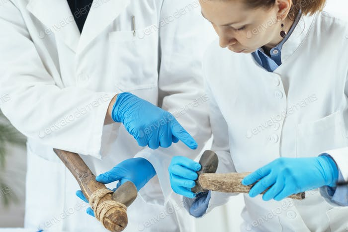 Archaeology Researcher Reconstructing Ancient Tool