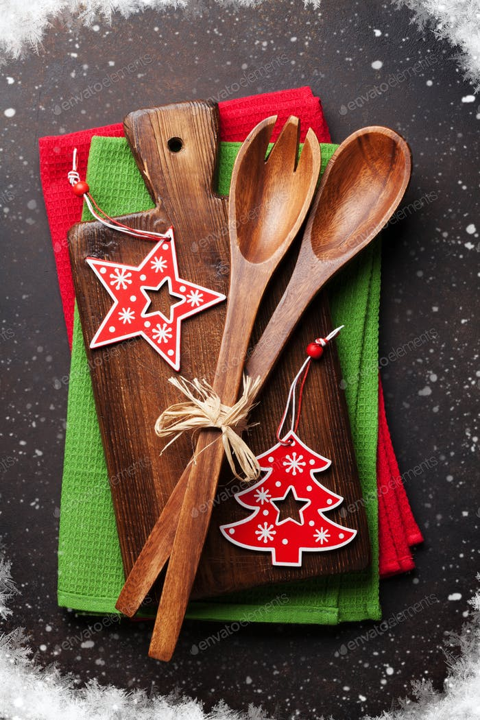 Christmas cooking table and utensils