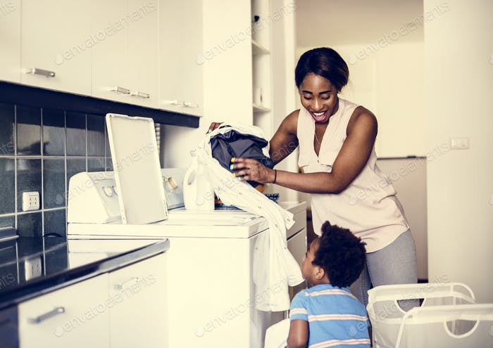Mom doing the laundry