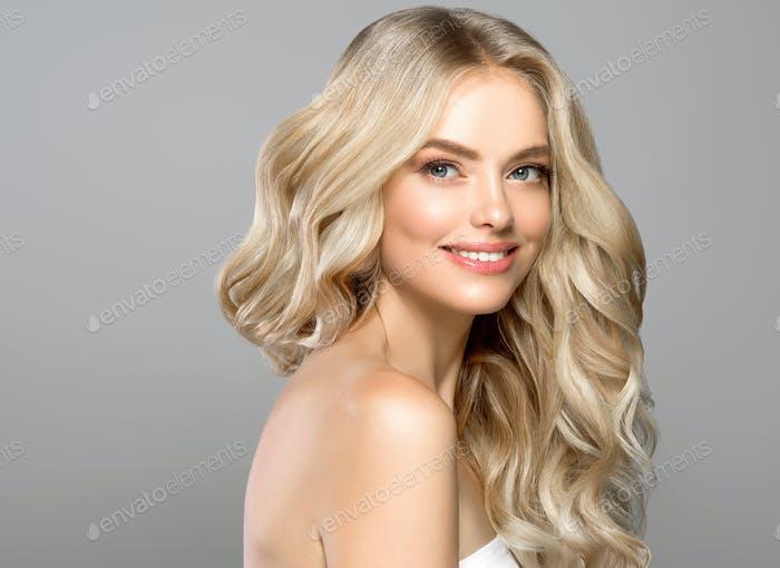 Blonde face woman curly hair beauty face natural makeup