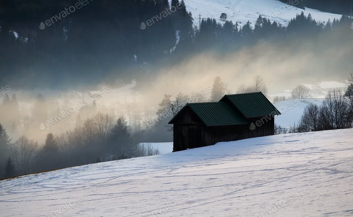 alpine winter countryside in evening sunlight