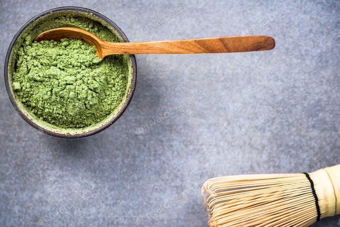 Traditional bowl with green Matcha tea powder
