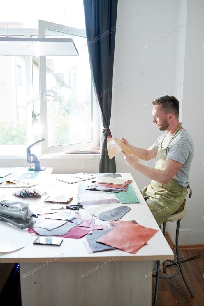 Tanner master at workshop