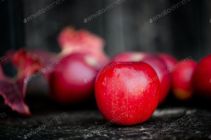 Organic red apples from autumn harvest in agriculture theme