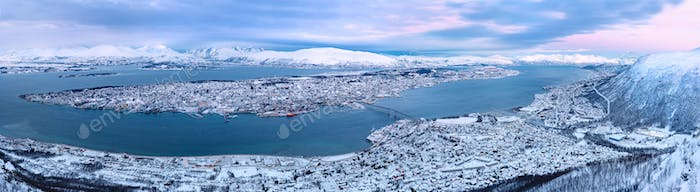 Panoramic view of Tromso city Norway at daytime in the winter