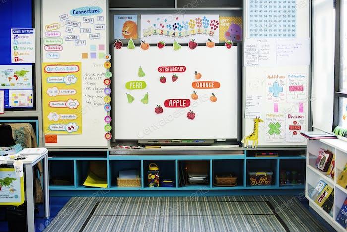 Kindergarten Classroom White Board Learning School