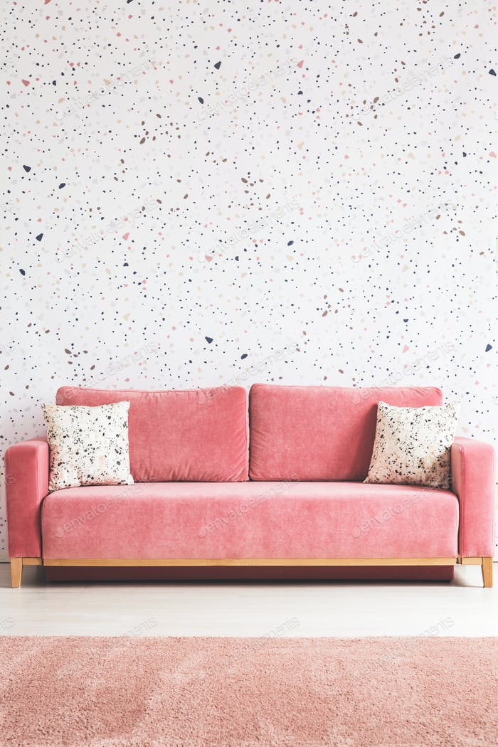 Patterned cushions on pink sofa in living room interior with car