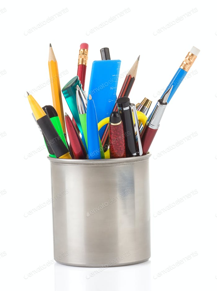 pen and pens in holder on white