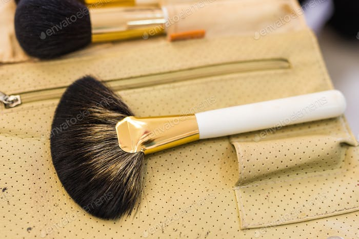makeup brushes, closeup.