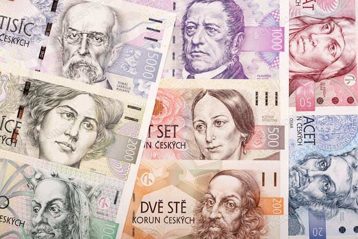 Full set of Czech money, a background
