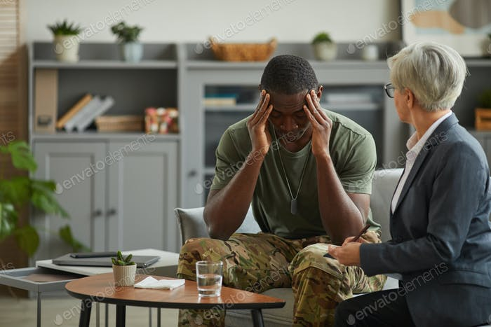 Soldier suffering from depression