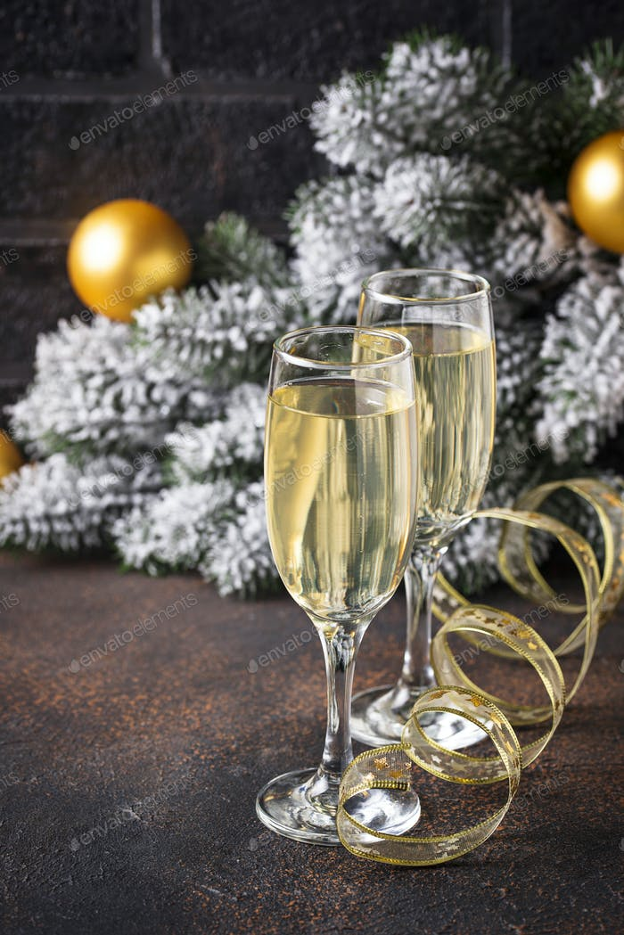 Glasses of champagne, traditional New year drink