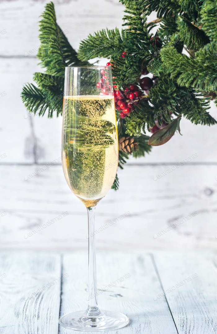 Glass of champagne with Christmas tree branch