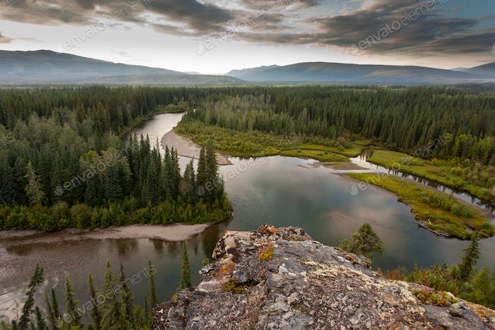 Yukon Canada taiga wilderness and McQuesten River