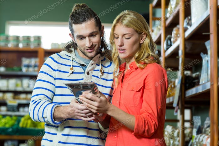 Couple shopping for groceries