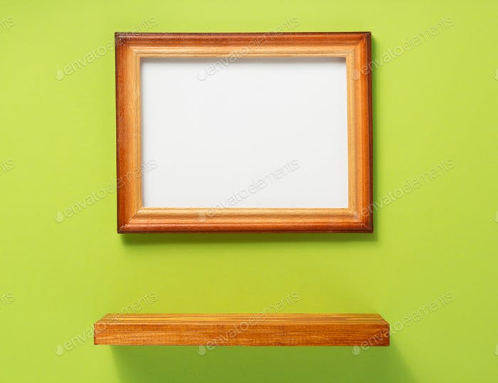 picture frame and shelf at wall background