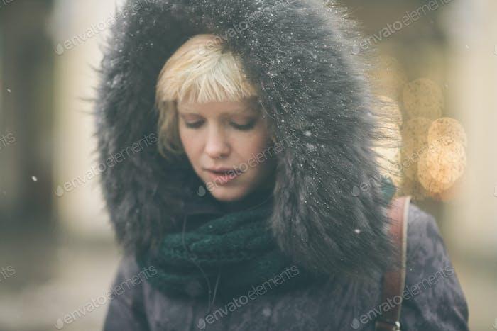 Beautiful woman city street portrait blonde